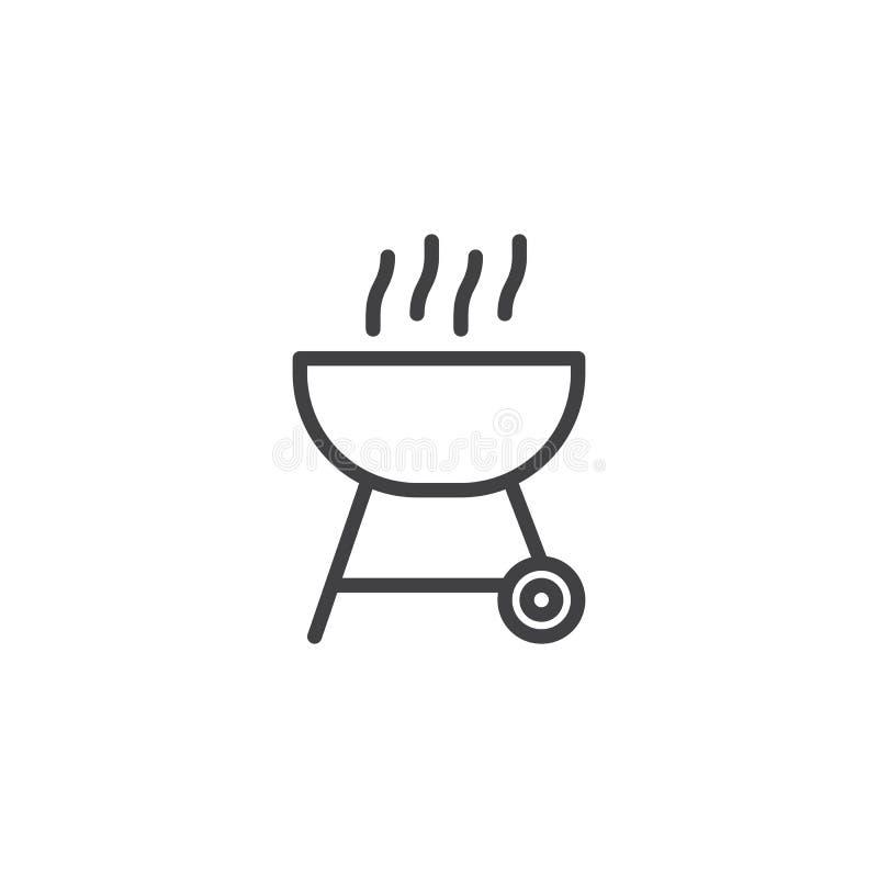 BBQ grilla linii ikona ilustracji
