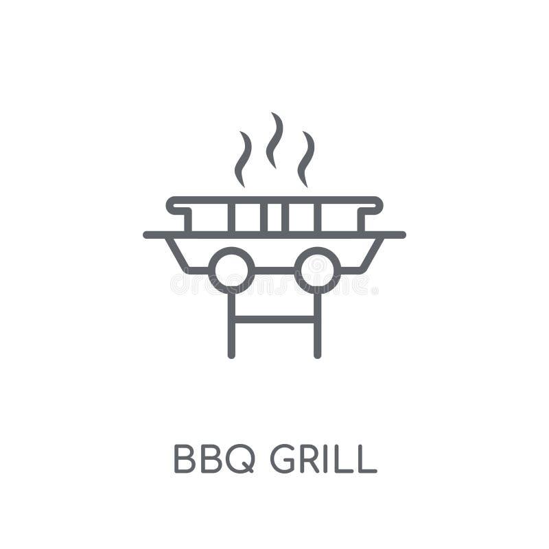 BBQ grilla liniowa ikona Nowożytny konturu BBQ grilla logo pojęcie dalej royalty ilustracja