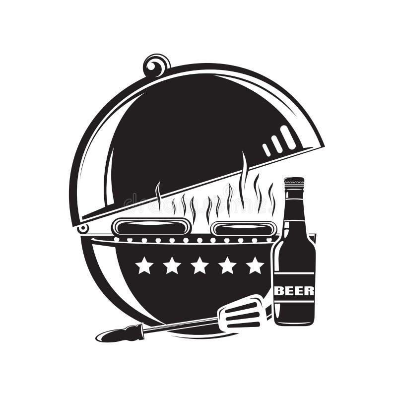 BBQ grilla loga ikona grill pieczone mięso royalty ilustracja
