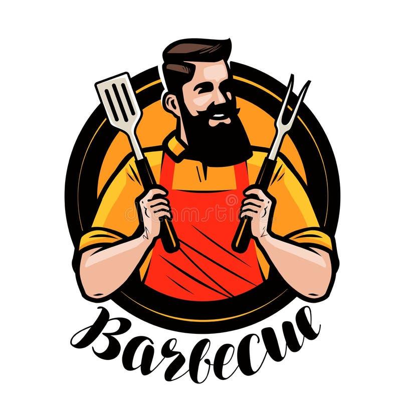 BBQ, grilla logo lub etykietka, Szef kuchni lub szczęśliwy kucharz trzyma grilla wytłaczamy wzory szpachelkę i rozwidlenie obcy k royalty ilustracja