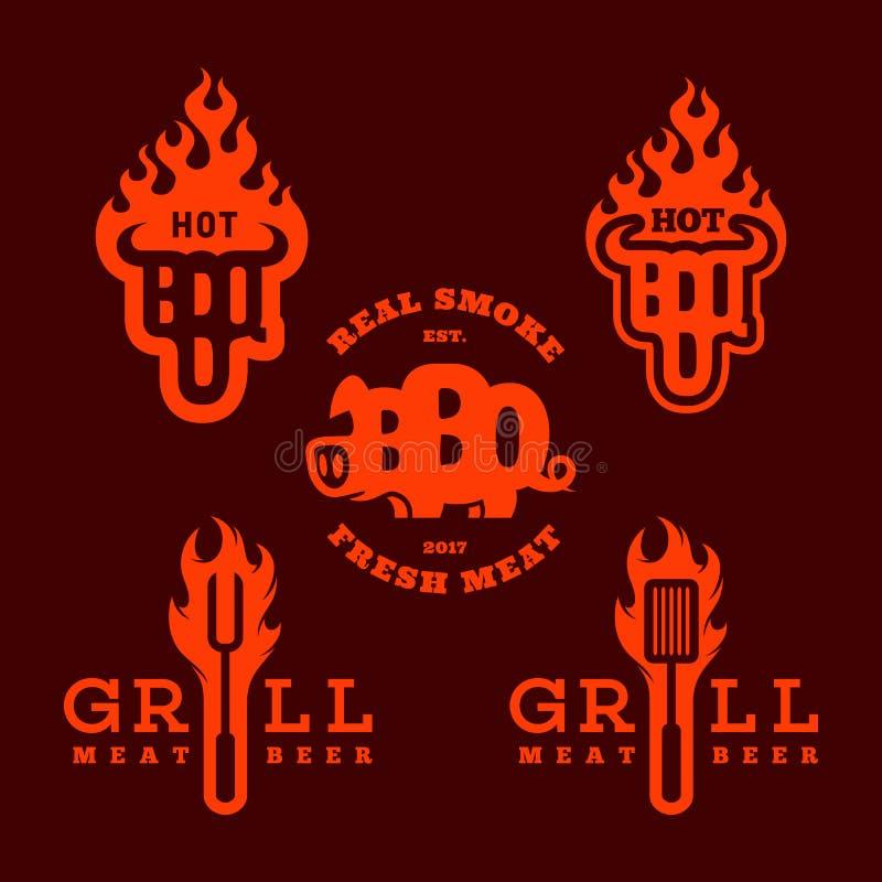 Bbq grilla logowie ilustracji