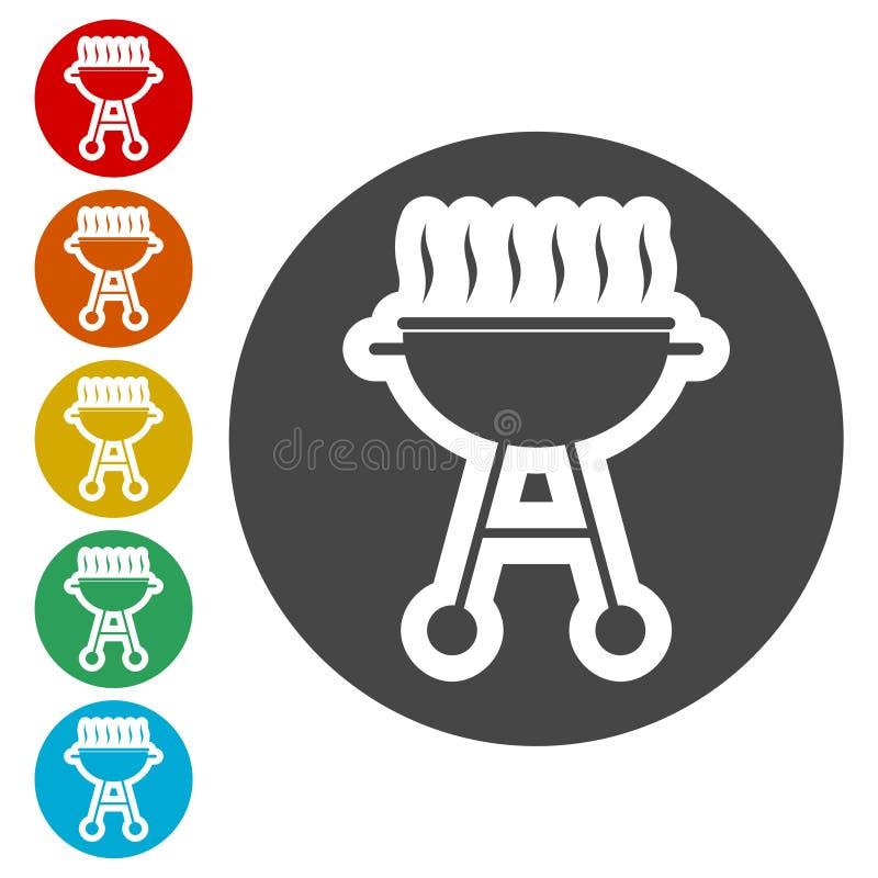 BBQ, grilla Lub grilla ikona, ilustracja wektor