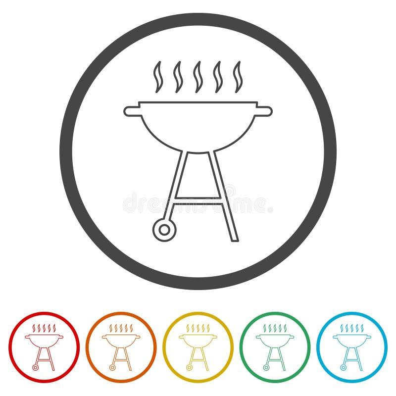 BBQ, grilla Lub grilla ikona, 6 kolorów Zawierać ilustracja wektor