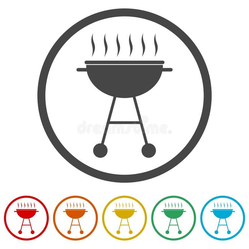 BBQ, grilla Lub grilla ikona, 6 kolorów Zawierać royalty ilustracja