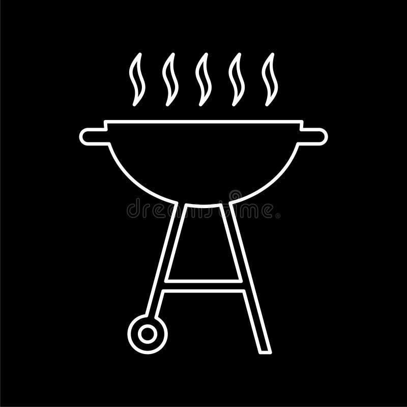 BBQ, grilla Lub grilla ikona na ciemnym tle, ilustracja wektor