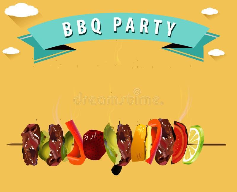BBQ, grilla menu, Partyjny zaproszenie Infographics ilustracja wektor