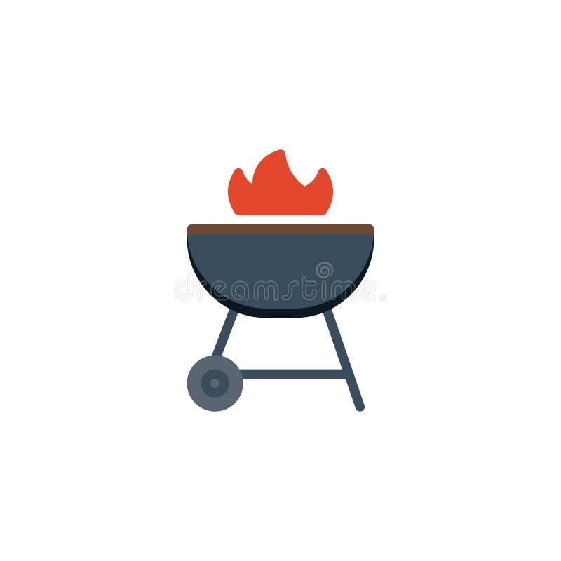 BBQ grilla mieszkania ikona royalty ilustracja