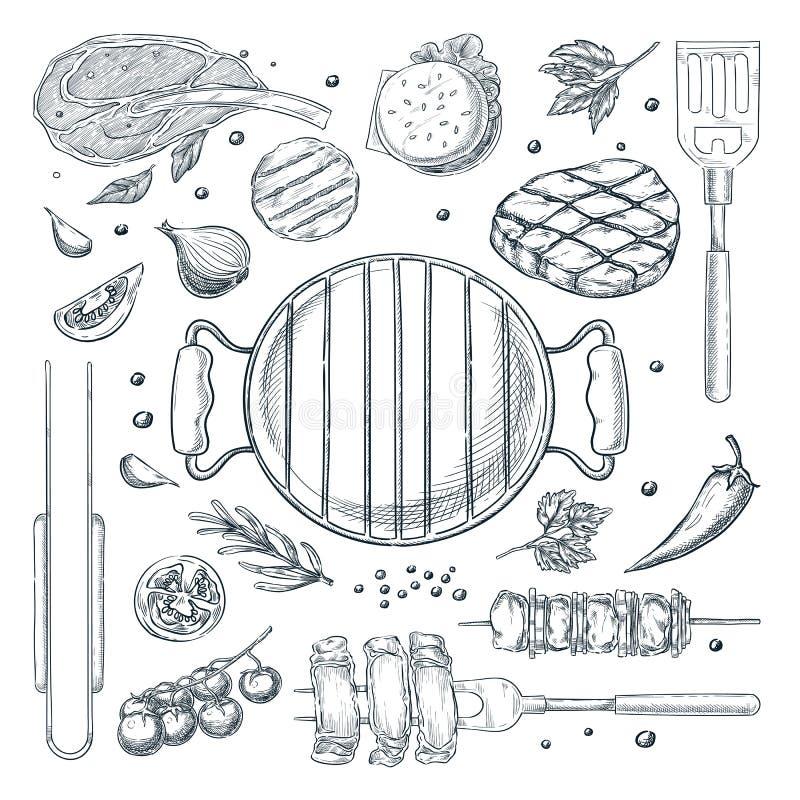 BBQ grilla nakreślenia wektorowa ilustracja Odgórnego widoku przedmioty ustawiają, odizolowywali na białym tle, Pykniczni menu pr ilustracja wektor