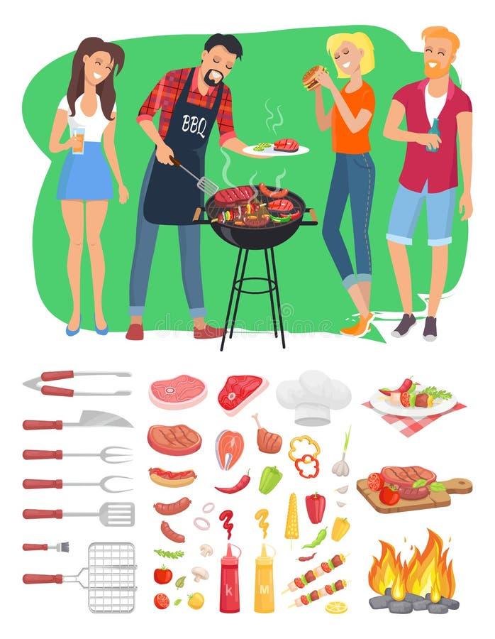 BBQ grilla narzędzi i ludzi wektoru ilustracja ilustracji