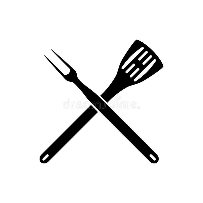 BBQ grilla narzędzia krzyżujący ilustracja wektor
