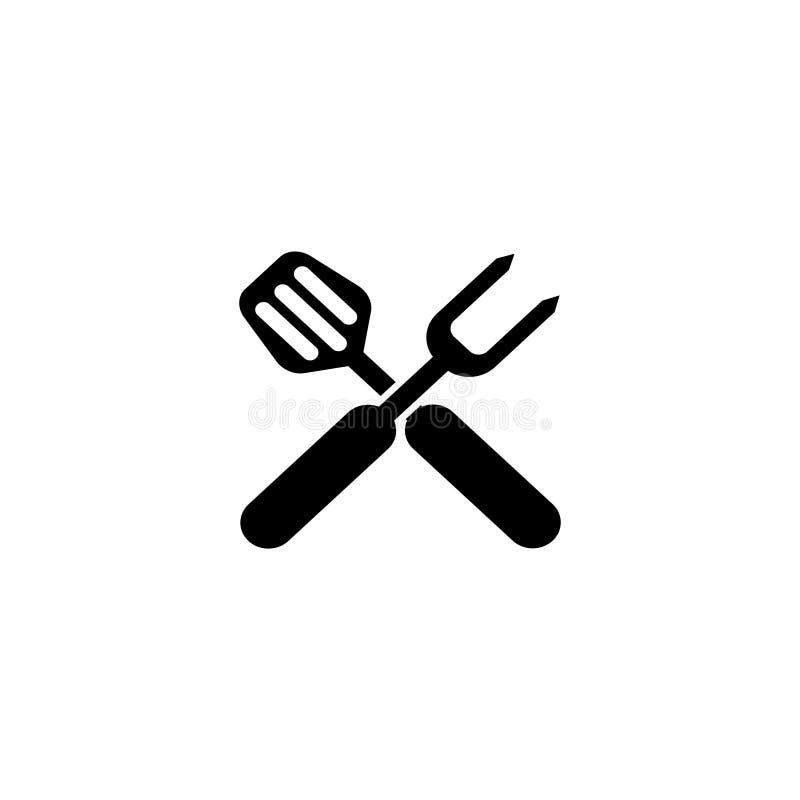 BBQ grilla narzędzia Krzyżujący grilla rozwidlenie z szpachelki Płaską Wektorową ikoną ilustracji