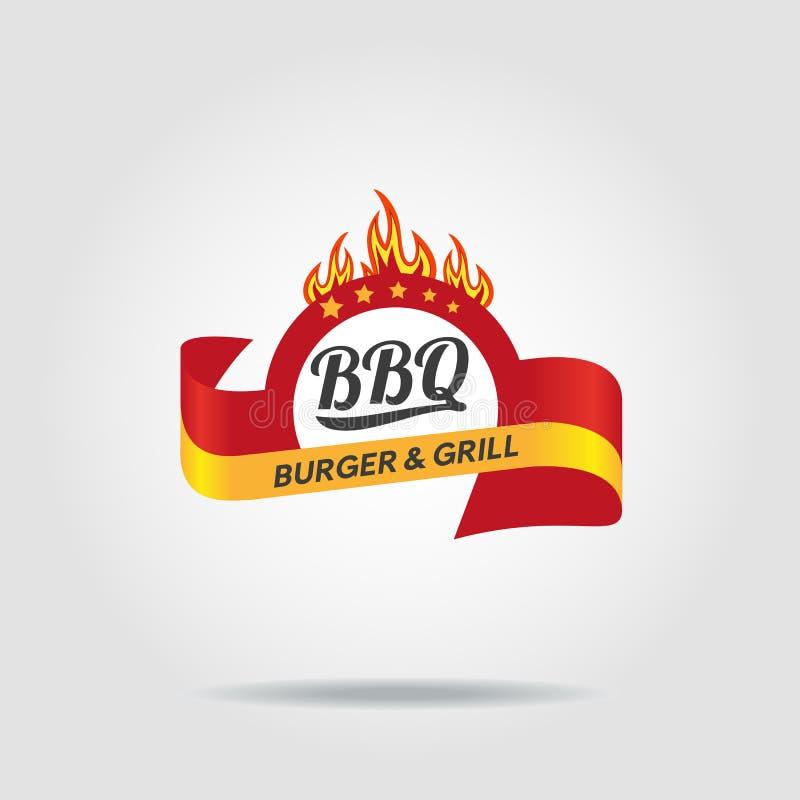 BBQ grilla odznaka ilustracji