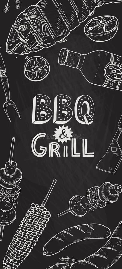 Bbq grilla plakat ilustracji