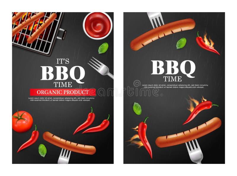 Bbq grilla przyjęcia sztandar ustawiający wektor realistyczny Pionowo menu broszurki szablonu gorąca kiełbasa Gorący kumberland c ilustracja wektor