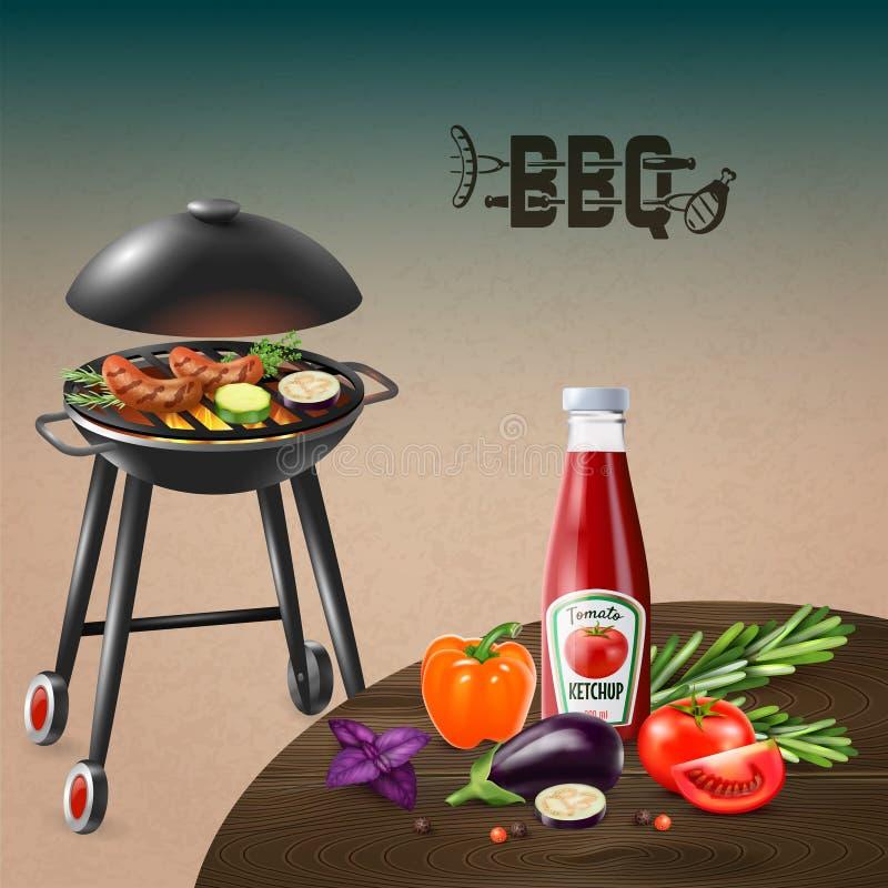BBQ grilla Realistyczna ilustracja ilustracji