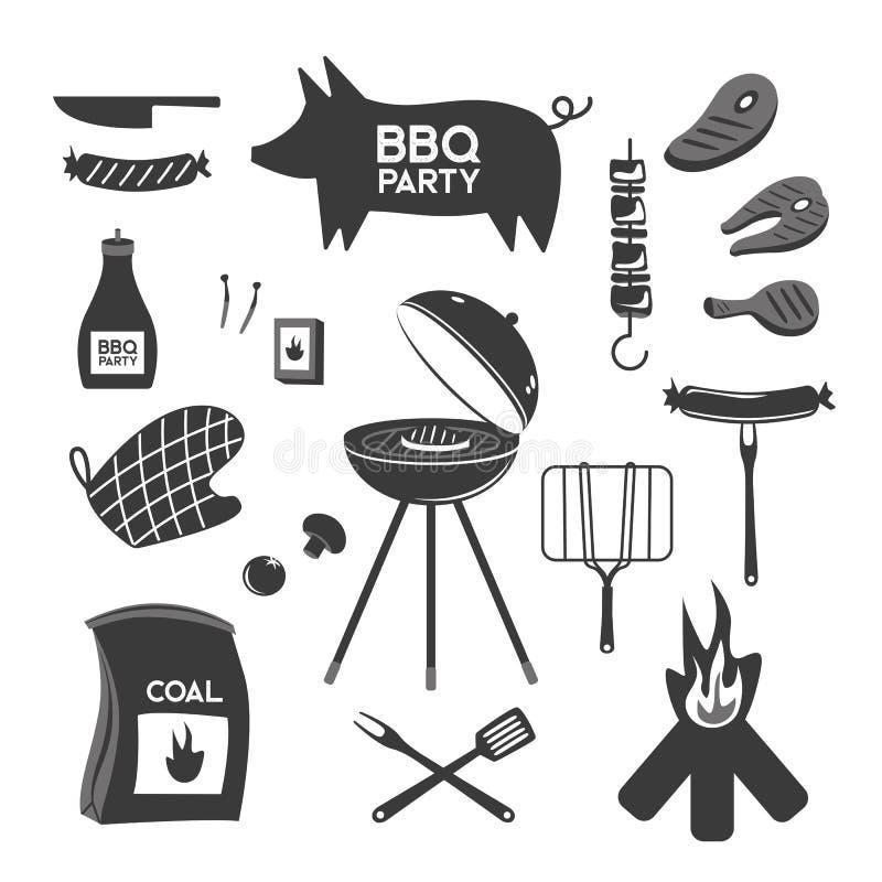 BBQ grilla grilla restauraci przyjęcia mięśni obiadowi wektorowi produkty w domu skewer opieczenia wyposażenia kuchennego mieszka royalty ilustracja
