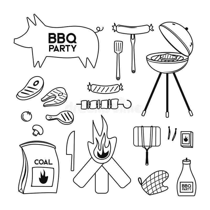BBQ grilla grilla restauraci przyjęcia mięśni obiadowi wektorowi produkty w domu skewer opieczenia wyposażenia kuchennego mieszka ilustracja wektor