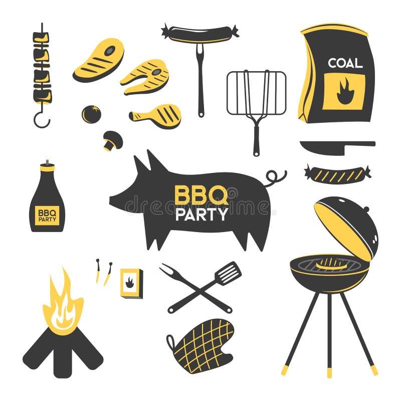 BBQ grilla grilla restauraci przyjęcia mięśni obiadowi wektorowi produkty w domu skewer opieczenia wyposażenia kuchennego mieszka ilustracji