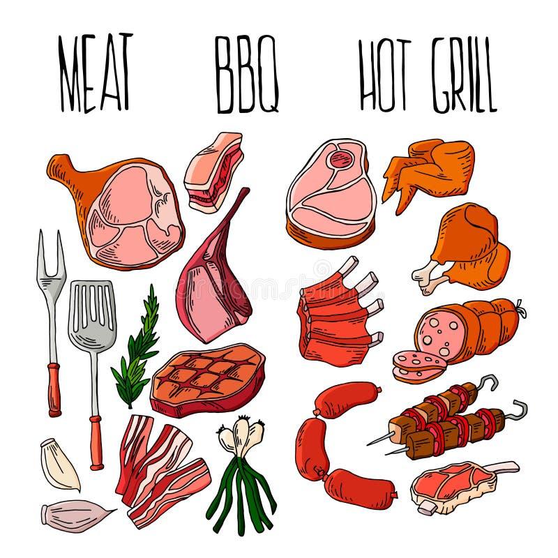BBQ grilla grilla restauracji przyj?cia mi??ni obiadowi wektorowi produkty w domu skewer opieczenia kuchennego wyposa?enia p?aski ilustracja wektor