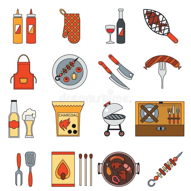 BBQ grilla grilla stku natury przyjęcia kulinarnego mięsnego pyknicznego isometric konturu projekta płaskie ikony ustawiają wekto ilustracja wektor