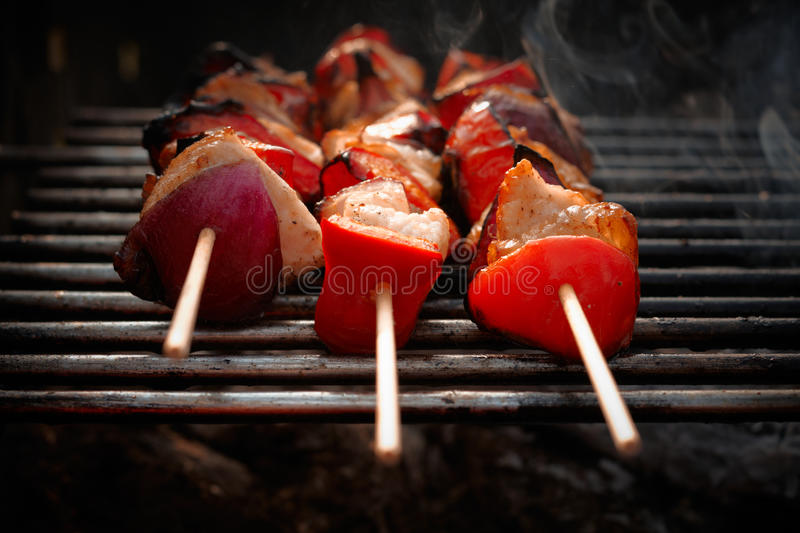 BBQ. Grilled chicken and vegetables royalty free stock photography