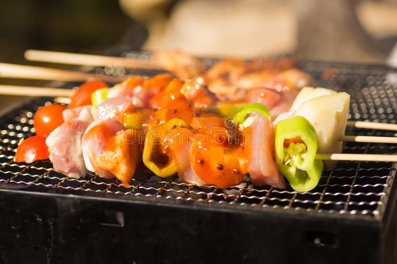 BBQ grilled in a grille , seasoned with seasoning. Use as a food concept royalty free stock photos