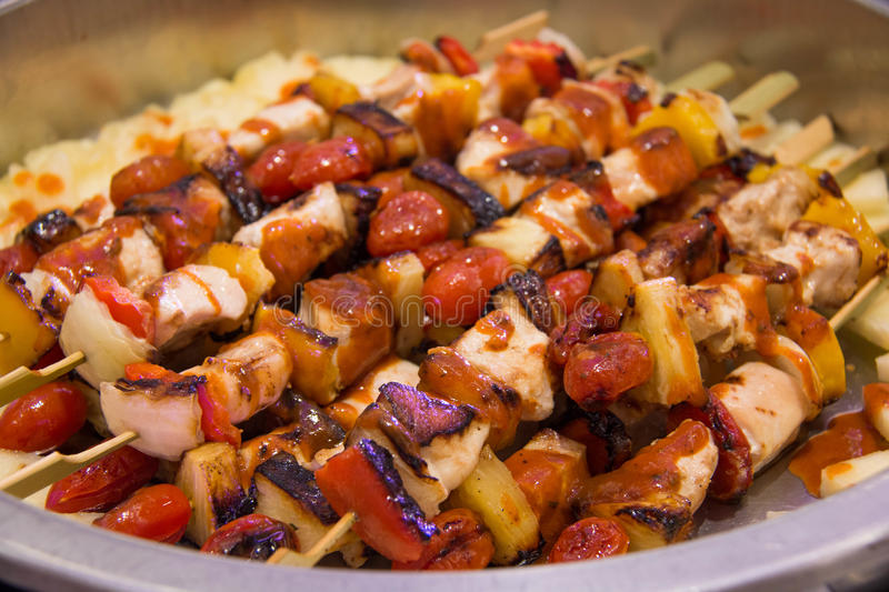 BBQ Grilled Mixed With Vegetables royalty free stock image
