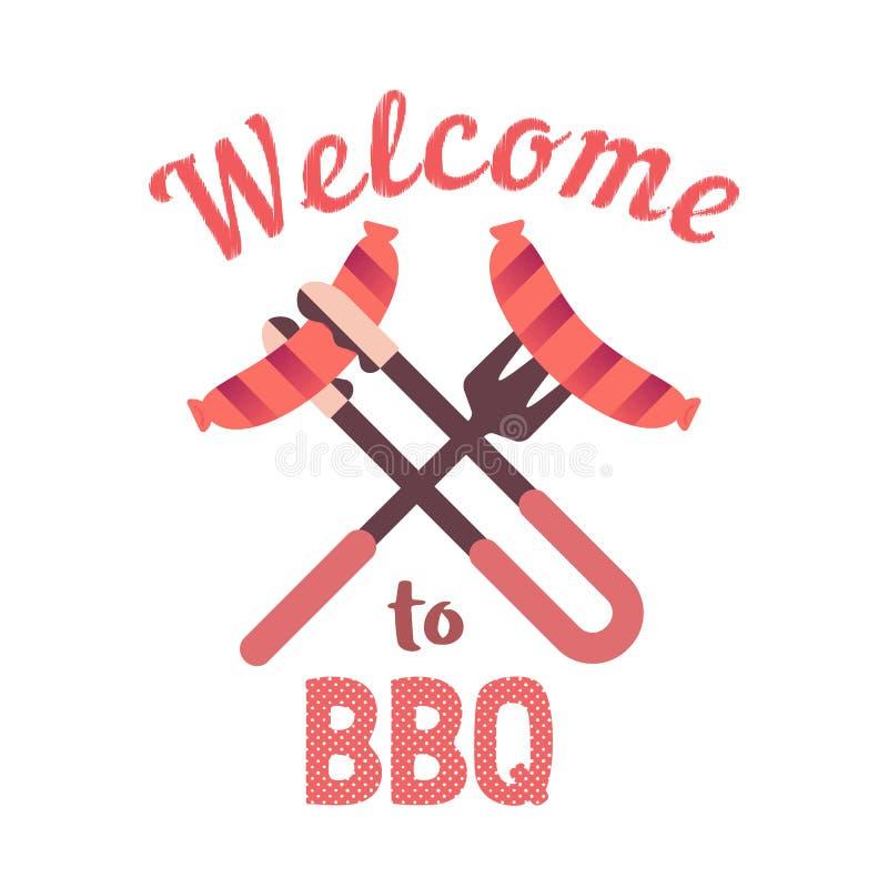 BBQ grilled pork sausages flat hand drawn vector color icon. BBQ grilled sausages flat hand drawn vector color icon. Barbecue picnic welcome invitation text stock illustration