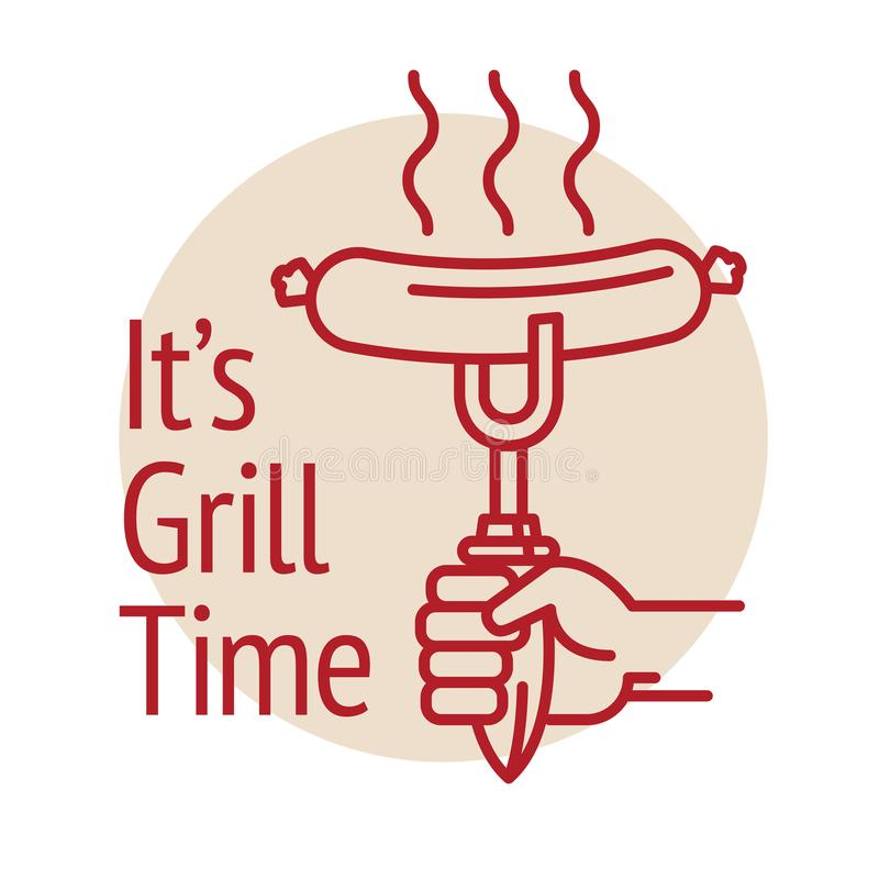BBQ grilled sausage, text Its Grill Time. Abstract vector illustration stock illustration