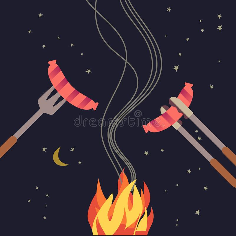 Grilled sausage simple flat color icon. BBQ grilled sausages flat hand drawn vector color icon. Barbecue element design. Grilling pork sausage camping fire royalty free illustration