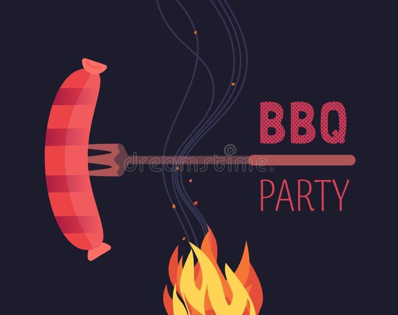 BBQ grilled sausages flat hand drawn vector color icon. Barbecue picnic design element. Grilling pork sausage fork emblem. Grill bbq restaurant party sign vector illustration