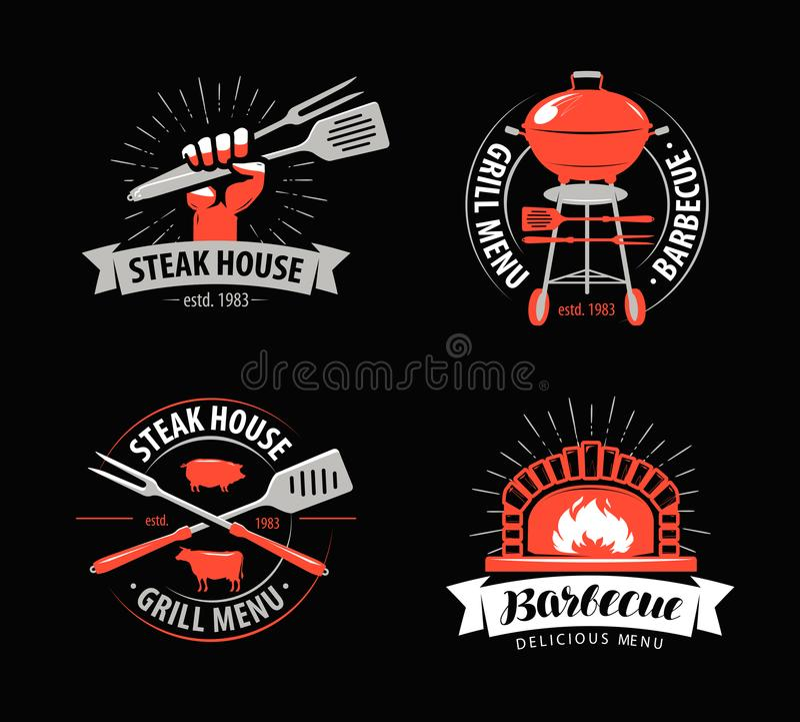BBQ, grillfest, gallerlogo eller symbol Etiketter för meny av restaurangen eller kafét också vektor för coreldrawillustration royaltyfri illustrationer