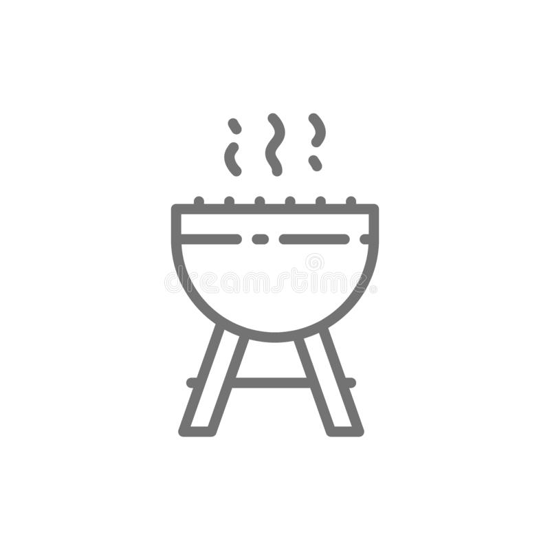 BBQ grillfest, utomhus- gallerlinje symbol vektor illustrationer