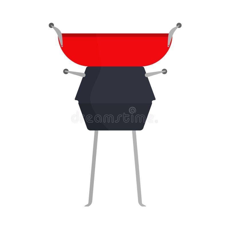 Bbq-Grillnahrungsmittelparteivektor-Ikonenzeichen Grillfleischsteak-Sommerpicknick Weinleseschwarz-Küchenkochen im Freien vektor abbildung
