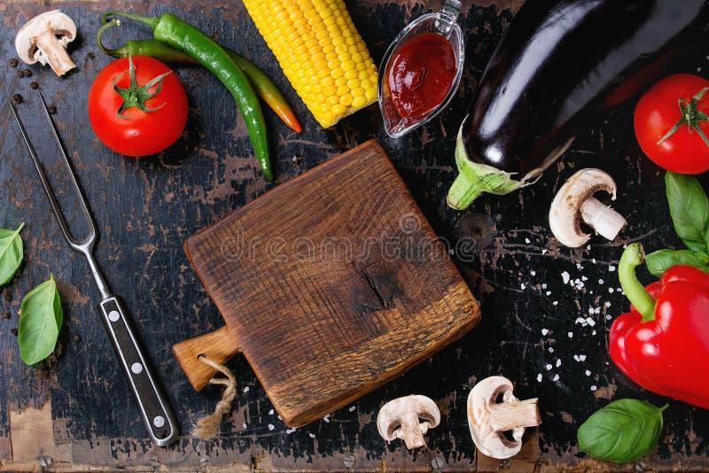 BBQ groentenachtergrond stock foto's