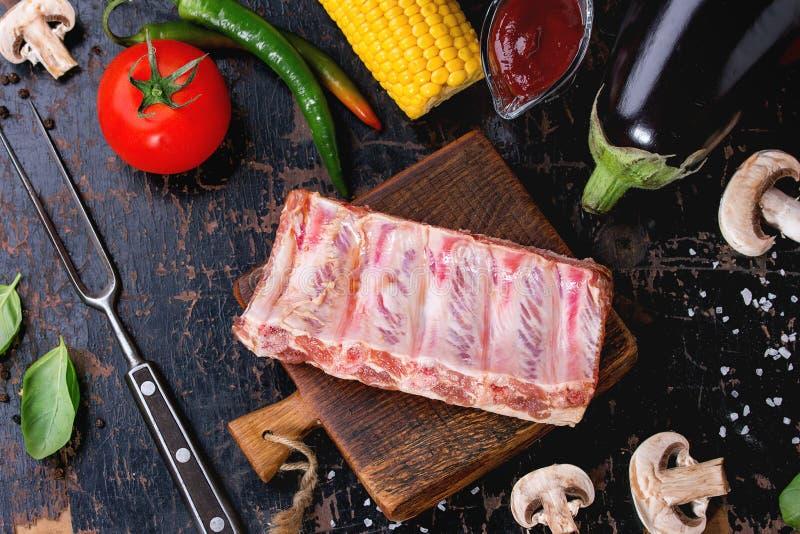 BBQ groentenachtergrond stock afbeeldingen