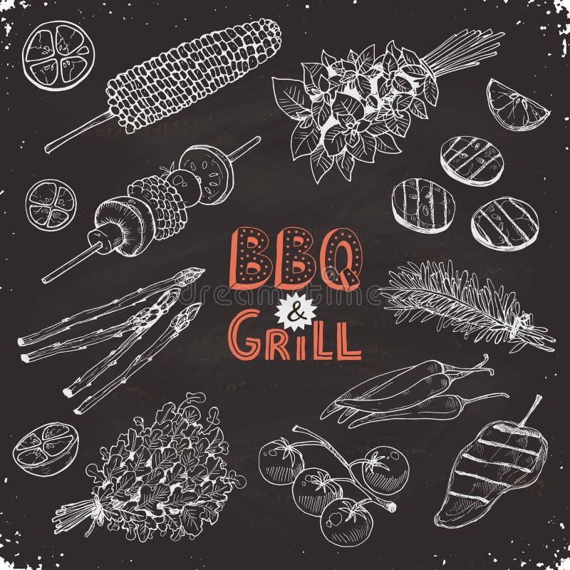 Bbq groentenschetsen vector illustratie