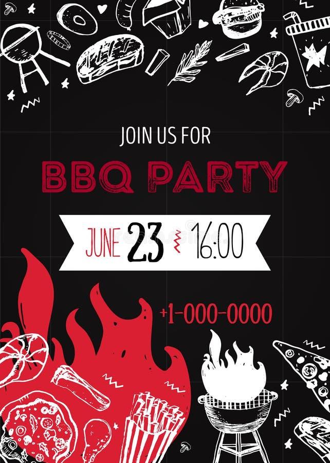 BBQ Grunge πρότυπο πρόσκλησης κόμματος για τις αφίσες, ιπτάμενα Manu σχαρών σχαρών στο σκοτεινό υπόβαθρο Αναδρομικό ύφος πικ-νίκ απεικόνιση αποθεμάτων