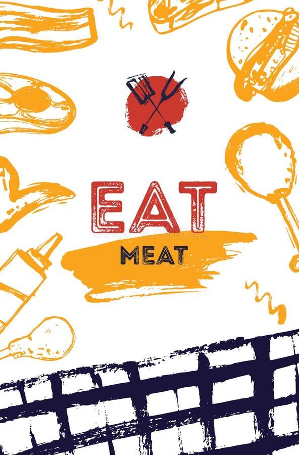 BBQ grunge doodle plakatowy invitatation w A4 formacie Grill partyjna ulotka Grill ilustracja z mięsem może używać dla ilustracja wektor