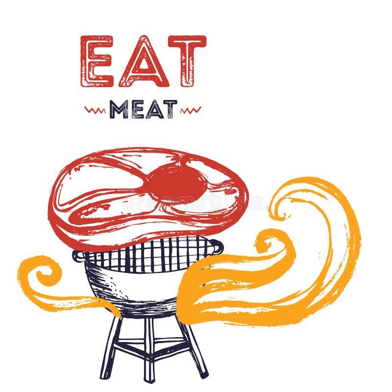 BBQ grunge doodle plakatowy invitatation w kwadratowym formacie Grill partyjna ulotka Grill ilustracja z mięsem i ogieniem royalty ilustracja