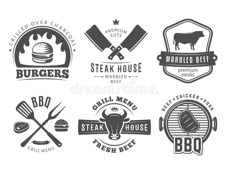 Bbq, hamburguesa, insignias de la parrilla fotos de archivo