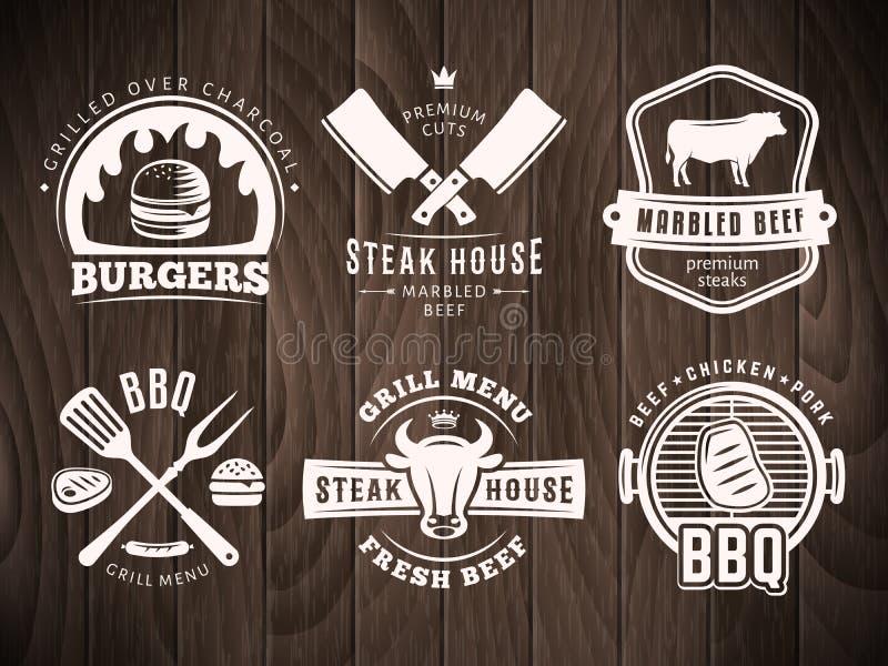 Bbq, hamburguesa, insignias de la parrilla fotos de archivo libres de regalías