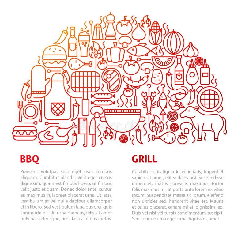 BBQ het Malplaatje van de Grilllijn royalty-vrije illustratie