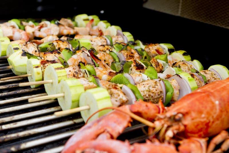 bbq homara łososia skewers zdjęcie stock