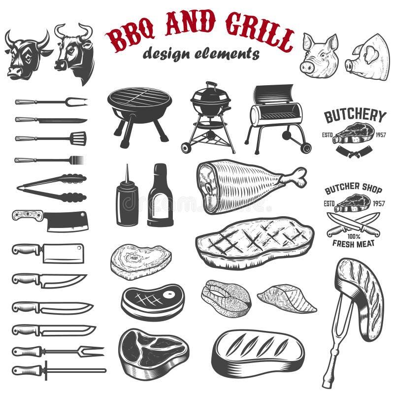 BBQ i grill projektujemy elementy dla loga, etykietka, emblemat, znak Vec royalty ilustracja