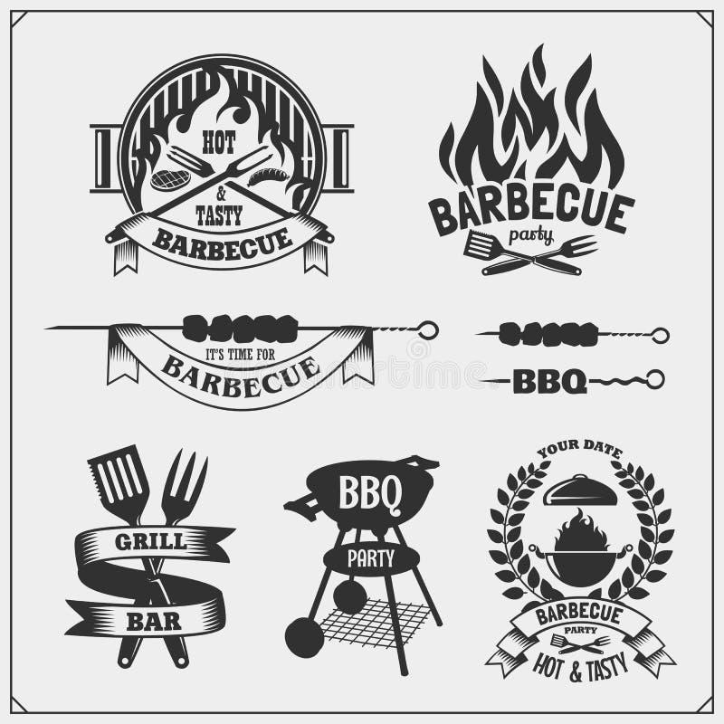 BBQ i grill przylepiamy etykietkę set Grillów emblematy, odznaki i projektów elementy, ilustracji