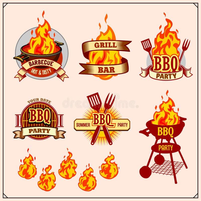 BBQ i grill przylepiamy etykietkę set Grillów emblematy, odznaki i projektów elementy, royalty ilustracja