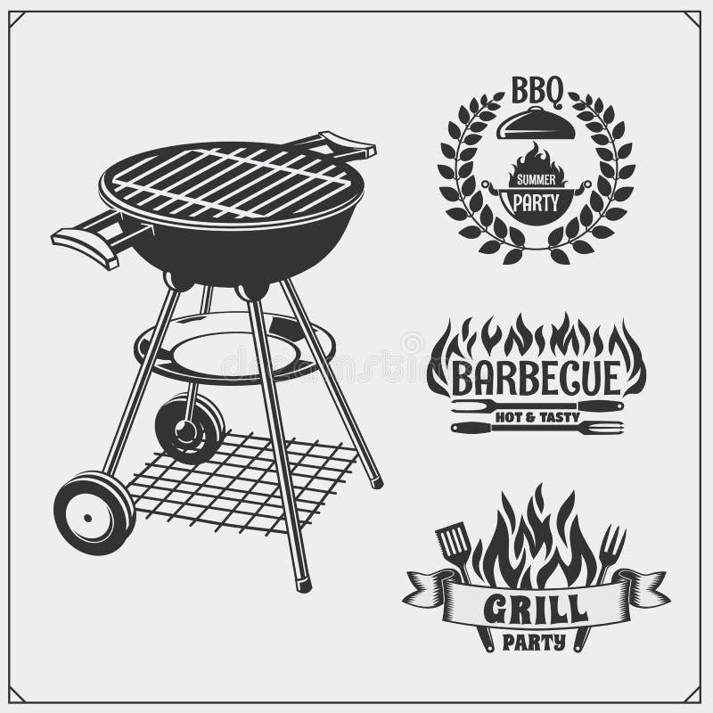 BBQ i grill przylepiamy etykietkę set Grill odznaki i emblematy ilustracja wektor