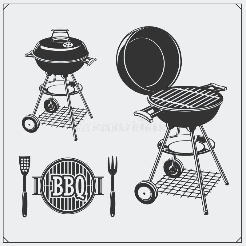 BBQ i grill przylepiamy etykietkę set Grill odznaki i emblematy Wektorowa Monochromatyczna ilustracja ilustracji