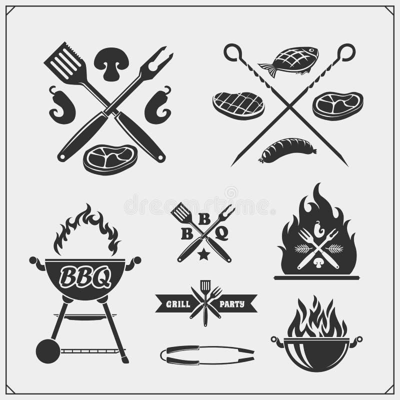 BBQ i grill przylepiamy etykietk? set Grill?w emblematy, odznaki i projekt?w elementy, ilustracji